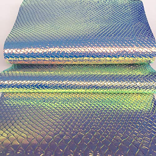 ZAIONE Holographic Snake Skin Faux Leather Fabric Roll by The Half Yard Width 53