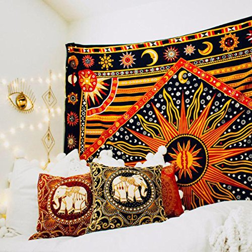 Koongso Celestial Sun and Moon Tapestry Indian Hippie Psychedelic Bedspread Mandala Wall Hanging Dorm Decor Beach Blanket 51