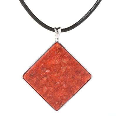 Amazon sterling silver 38ct square red coral pendant necklace sterling silver 38ct square red coral pendant necklace aloadofball Images