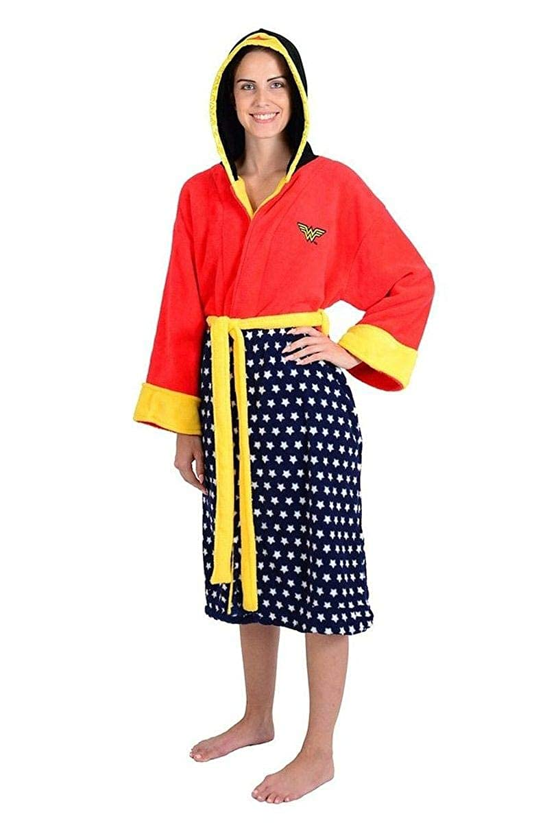 DC Comics Wonder Woman Stars Hooded Cosplay Fleece Robe (One Size) Robe Factory