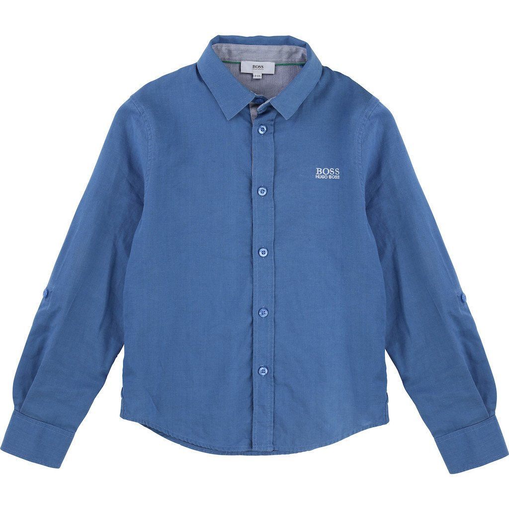 Blue Linen Shirt by BOSS