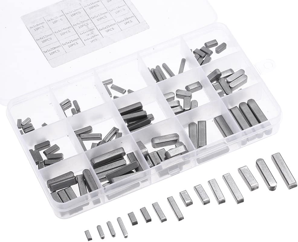 140pcs Key Stock Assortment,8mm-30mm Stainless Steel Round Ended Feather Key,Parallel Drive Shaft Feather Keys Set,for Fastenning The Equipments Disassembled Frequently