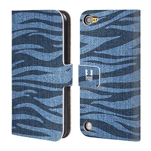 Head Case Designs Zebra Demin Stampato Cover a portafoglio in pelle per iPod Touch 5th Gen / 6th Gen