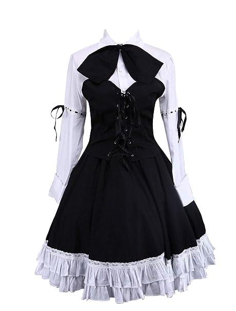 Antaina Corbata de Lazo de Encaje de algodón Negra Corbata de Vestir Retro de Victoriana Lolita