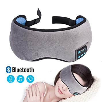 Z&HA Novedad Sueño Máscara De Ojo Auriculares Auriculares con Banda De Música Auriculares Inalámbricos Bluetooth Estéreo De Terciopelo Suave Relajarse Y ...