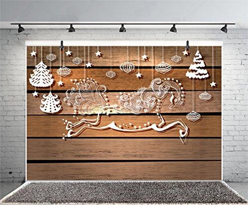 Leyiyi 10x8ft Photography Backdrop Merry Christmas Background Happy New Year Chinese Tradition Art Sugar Man Lantern Horse Vintage Wooden Board Snowflakes Pine Photo Portrait Vinyl Studio Video -