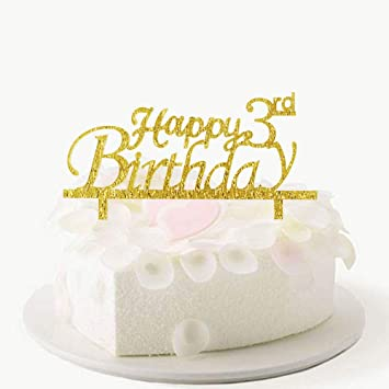 Stupendous Amazon Com Happy 3Rd Birthday Cake Topper 3Rd Birthday Cake Personalised Birthday Cards Cominlily Jamesorg