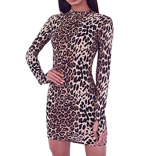 179d77ae5f AmyDong Women's Dresses, Long Sleeve Round Neck Leopard Sexy Tube  Personality Finger Cover Dress at Amazon Women's Clothing store: