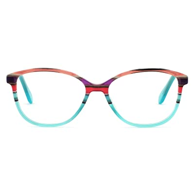 470e429a910f OCCI CHIARI Fashion Oval Acetate Eyeglasses Frame With Clear Lenses (Blue  pattern, 52)