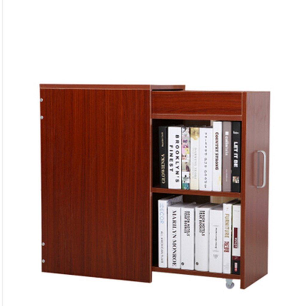 小さな書棚プッシュとプル小さな本棚シンプルな本棚の収納キャビネットバルコニーロッカー小さなアパートのロッカー (Color : Teak)  Teak B07H2BRHL1