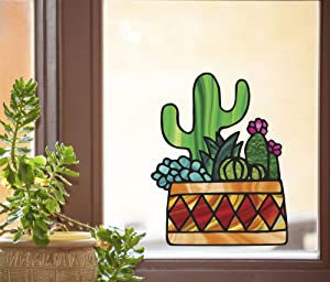 Potted Cactus Succulent Plants - D3 - Stained Glass Style - See-Through Vinyl Window Decal - Yadda-Yadda Design Co. (Large 9.5