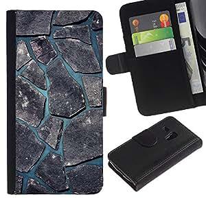 "Samsung Galaxy S3 MINI / i8190 (Not For Galaxy S3) , la tarjeta de Crédito Slots PU Funda de cuero Monedero caso cubierta de piel ("" Minimalist Beautiful Nature Cobblestone"")"
