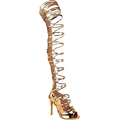 2dc37f6aa5b76 Fashion Thirsty Womens Thigh High Lace Up Stiletto Sandals Party Boots Size  5
