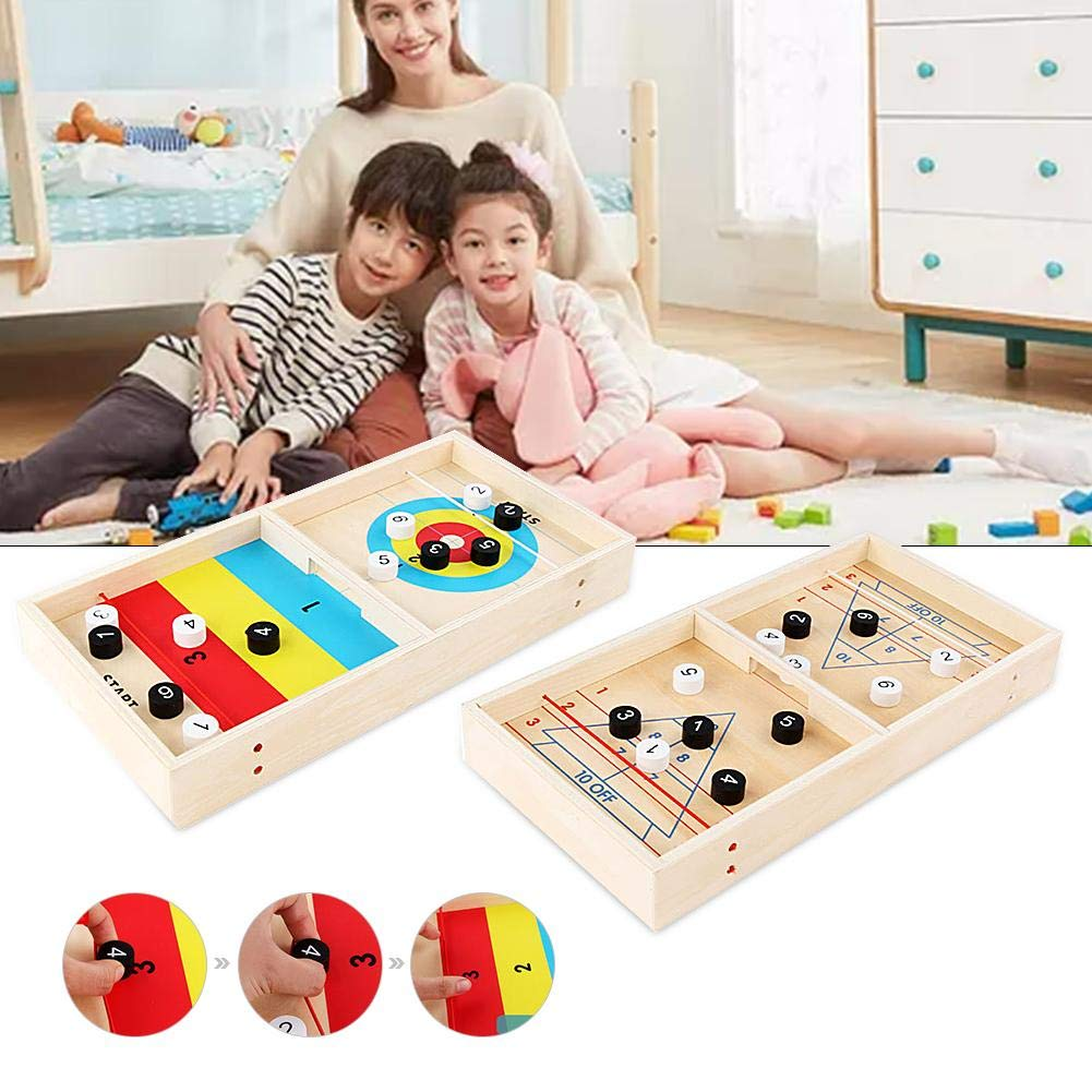 BDSONG Table Ice Hockey Set for Kids, Children Wooden Ice Fox Ball Game, Novelty Tabletop Shuttle Ball Toy for Children by BDSONG