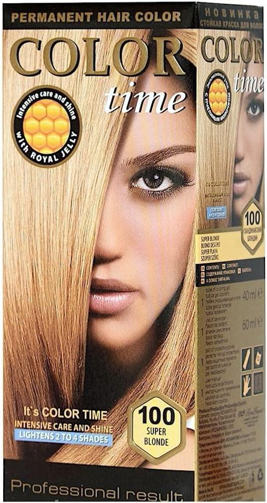 Color time, tinte permanente para el cabello de color super rubio 100