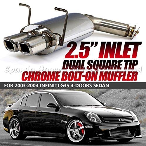 Fits 03-04 Infiniti G35 4Dr Bolt-On Stainless Steel Muffler Dual Tips Chrome Jdm