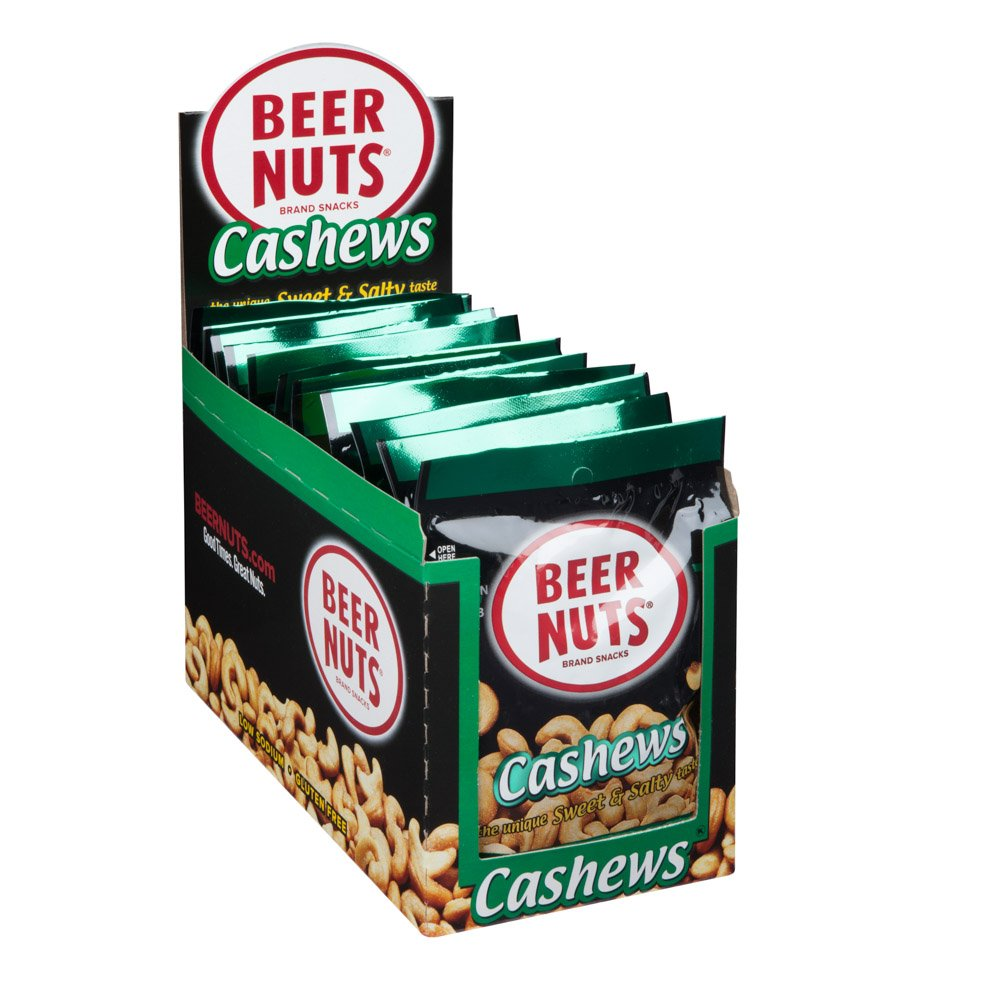 BEER NUTS Cashews   12 Pack Box - 2 oz. Individual Bags - Sweet and Salty