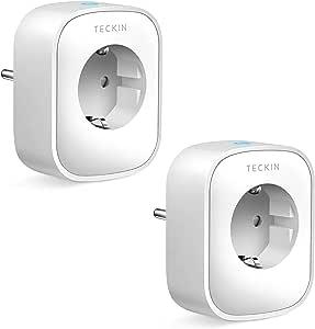 TECKIN Enchufe Inteligente, 16A 3680W Enchufe WiFi Con Monitor de Energía, Compatible con Alexa & Google Home, Enchufe con Control Remoto y Función de Temporizado, Enchufes Inteligentes 2 Packs