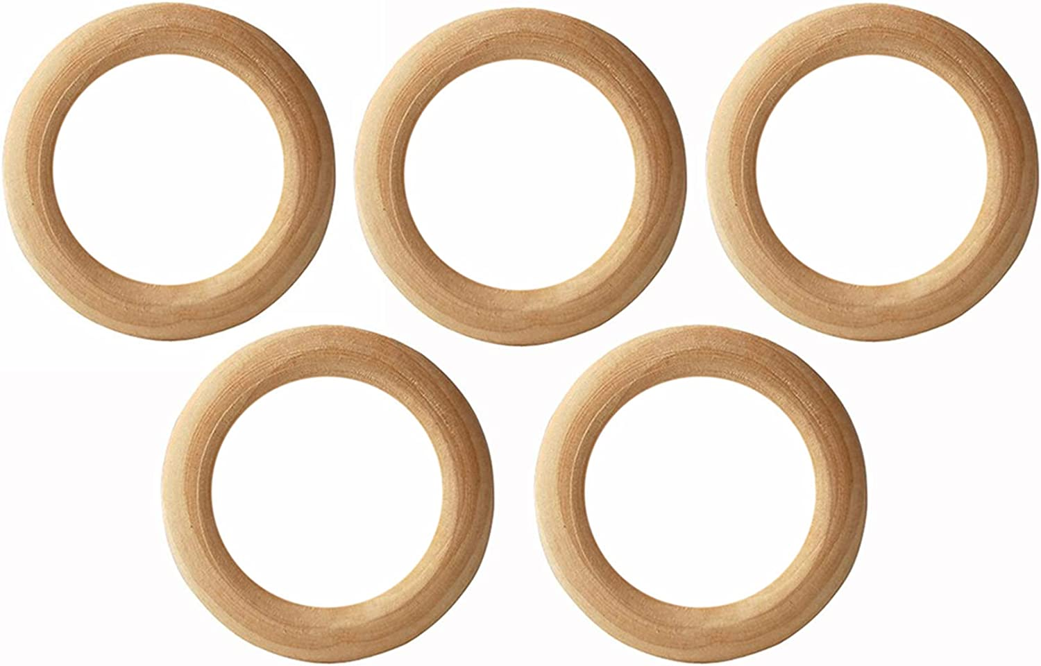 Penta Angel 55mm 10Pcs Natural Wood Rings Unfinished Wooden Loop Circle for DIY Project Pendant Connectors Art Craft Jewelry Making 55mm