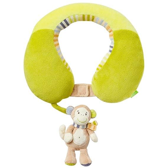 Fehn 081763 Nackenstütze Affe – Nackenkissen mit kleinem Rassel-Affen für Babys und Kleinkinder ab 6+ Monaten – Stützt und en