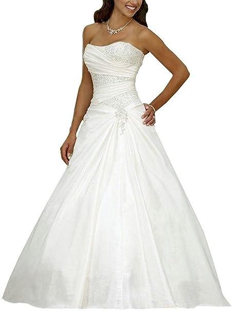 58af53db3fef JAEDEN Abiti da Sposa Lungo Vestito da Sposa con Paillettes Donne Senza  Spalline Raso  Amazon.it  Abbigliamento