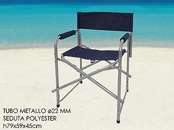 Girm® ge765137 sedia da regista pieghevole blù 79x59x45cm: amazon
