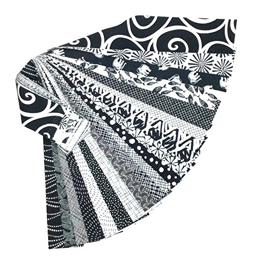 Jelly Roll 20 Cotton Quilting Fabric Strips 2.5 X 43-inch Classic Black and White No Duplicates (Rjr Quilting Fabrics)