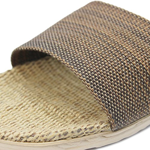 Stripes Brown Breathable House Slippers Mens Lightweight Lightweight bestfur bestfur Mens Linen Breathable RqFPwF