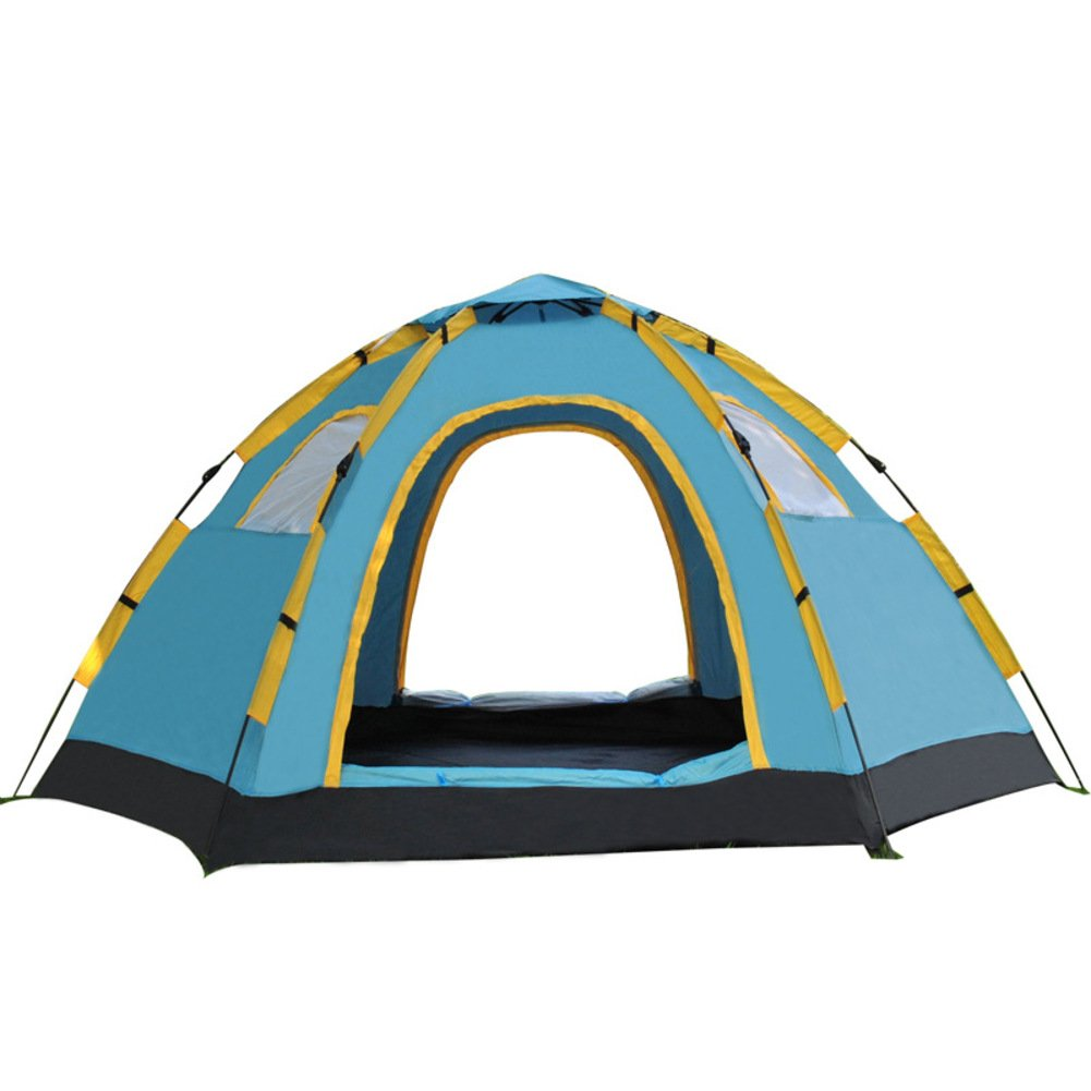 TY&WJ Familie Campingzelt,Outdoor Kuppelzelte Schnell öffnen Zelte Faul Open Hexagon Wandern Zelt Einlagige 5-8 Personen