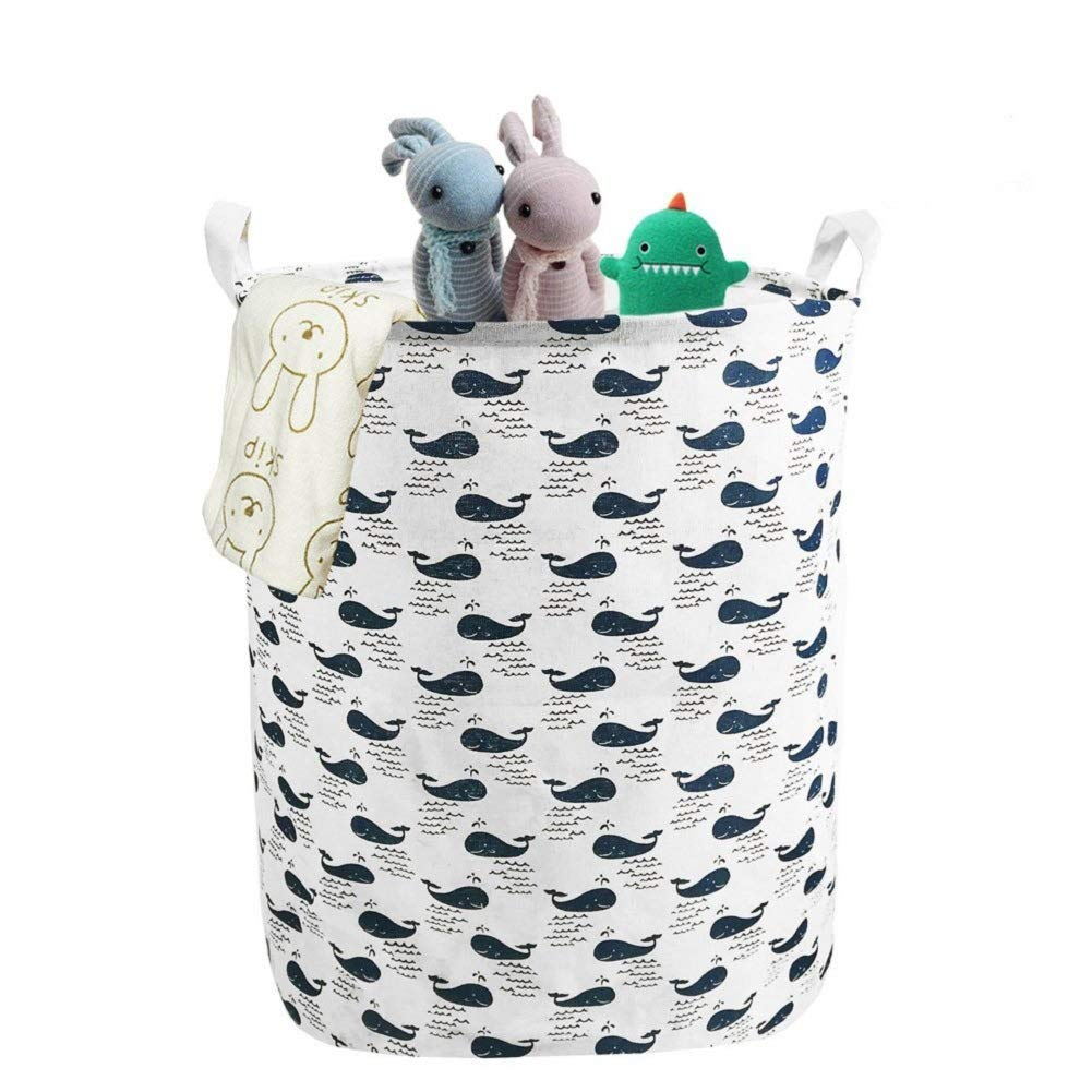 Gift Baskets Linen Collapsible Laundry Basket Organizer with Drawstring Cover for Clothes Storage Baby Toy Nursery Laundry Hamper- Whale ANTJUMPER Decorative Storage Bins