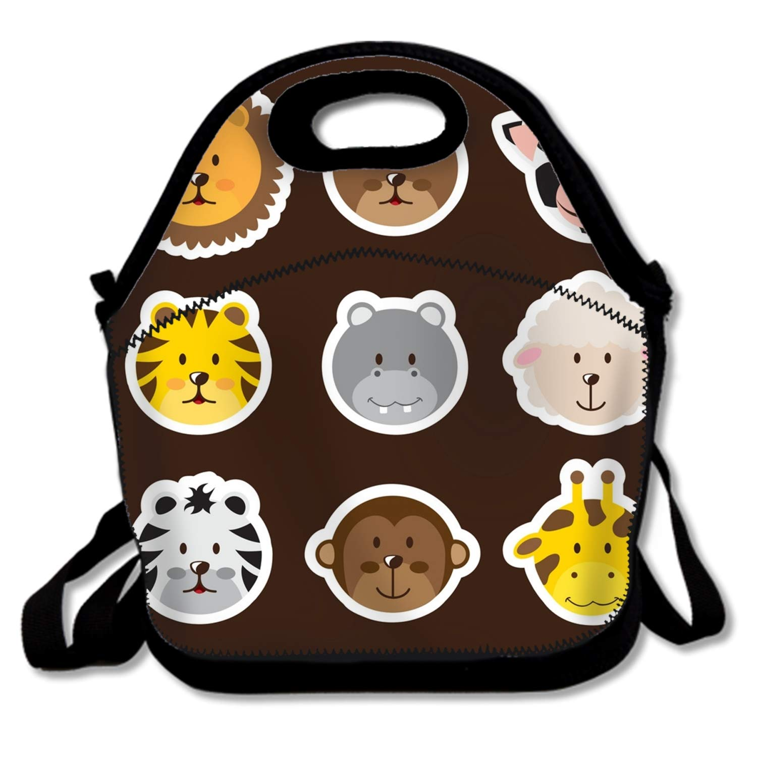 Premium Insulated Lunch Bag with Shoulder Strap Cute Animals Lunch Box