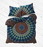 Blue Color Indian Queen Size Mandala Duvet Cover Handmade Red Color Dona Cover set 3 pcs
