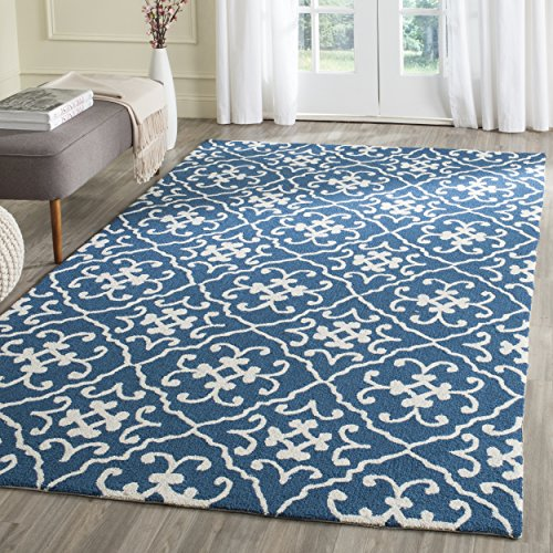 Safavieh Four Seasons Collection FRS231B Hand-Hooked Navy and Blue Indoor/ Outdoor Area Rug (3'6
