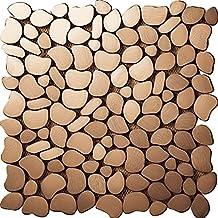 River Rock Pattern Mosaic Stainless Steel Metal Tile- Kitchen Backsplash / Bathroom Wall / Home Decor / Fireplace Surround- SA152 (11PCS 10.76Sq.ft)