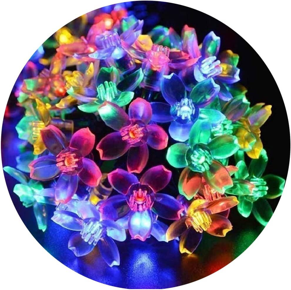Flower String Lights, Sakura Lights, Indoor/Outdoor Decorative String Lights, Fairy Twinkle Wire Lights with 8 Flash Changing Modes for Christmas/Patio/Garden/Party (33ft 100LED Multi-Color)