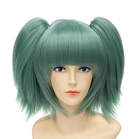Baisheng Assassination Classroom Kayano Kaede verde doble cola de caballo peluca Cosplay Cosplay Anime Dance Party