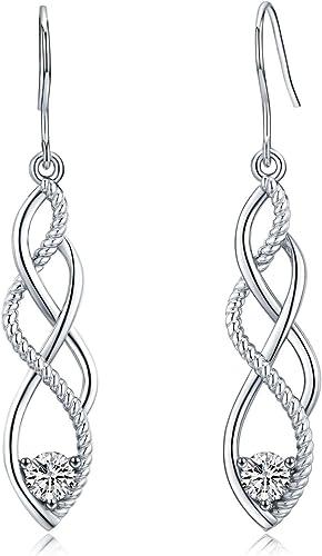 INFINITY women/'s earrings 925 silver earrings infinity earrings with zircons