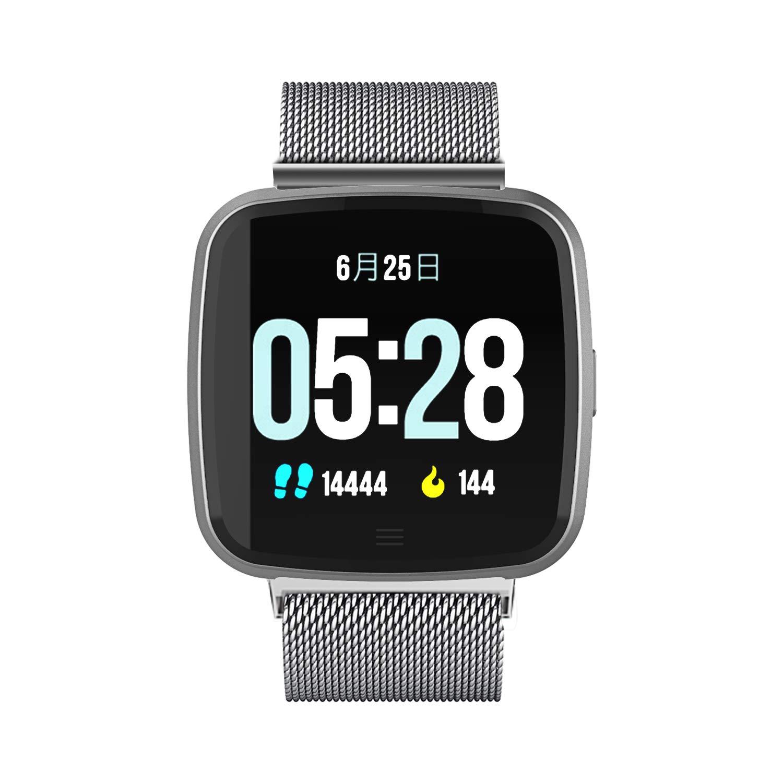 スポーツスマートウォッチ フィットネストラッカー 心拍計 金属腕時計メタルバンド Android Phone用  銀 B07K76QMPK