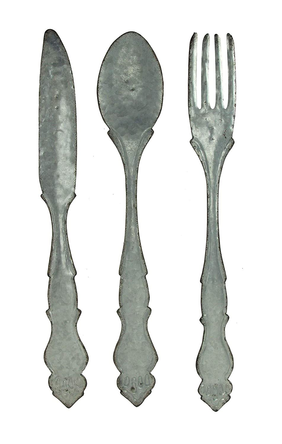 Zeckos Large Galvanized Metal Fork Spoon Knife Farmhouse Decor Kitchen Wall Hanging Set