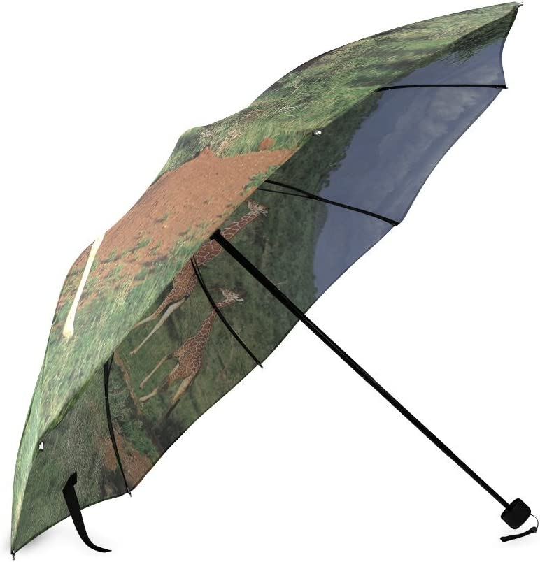 Custom Cute Giraffe Compact Travel Windproof Rainproof Foldable Umbrella