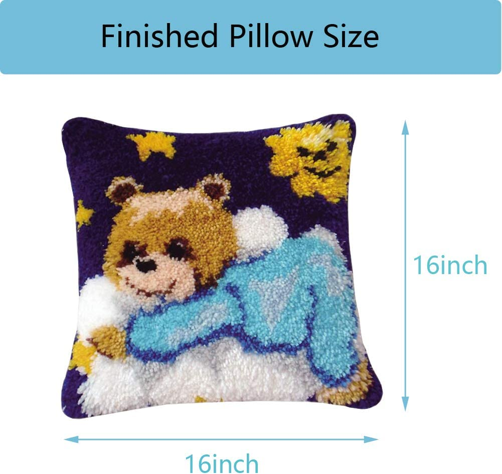 Latch Hook Kits for Adults Contain Latch Hook Tool Kit Preprinted Pattern Pillow Making Kit Easy for Beginners and Kids