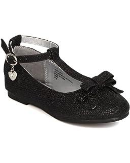 3465f2ea1 Girls Glitter Leatherette Bow T-Strap Dangling Charm Flat FI69 - Black