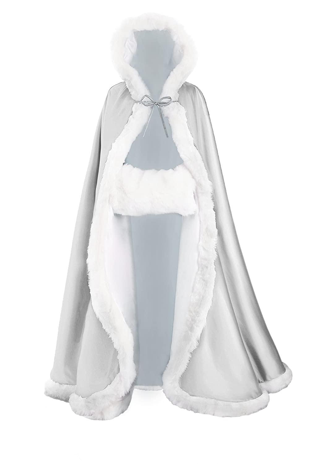 Wedding Cape Hooded Cloak for Bride Winter Reversible with Fur Trim Free Hand Muff Full Length 55 inches Royal Blue BEAUTELICATE Cloak-01-Royal Blue