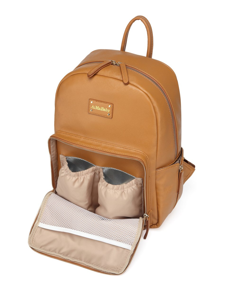 Amazon.com : AMB Fashion PU Leather Practical Multi-Function Backpack Baby Diaper Bag with Changing Pad Light Brown : Baby