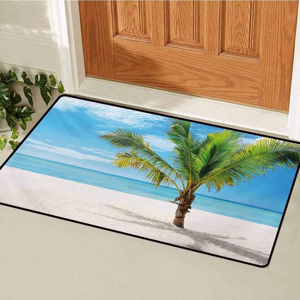 Tropical Commercial Grade Entrance mat Exotic Beach with Palm Tree in Saona Island Sunny Summer Day Seaside Photo for entrances garages patios W35.4 x L47.2 Inch Blue Cream Green by GUUVOR