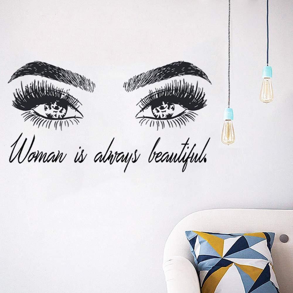 Sticker Mural La Femme Est Toujours Belle Sticker Cils De Salon De Beaut/é 58X104Cm
