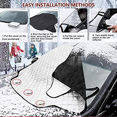 Windshield Snow Cover?Car Windshield Covers for Ice and Frost, Ice Removal Wiper Visor,Guard Windproof/Warterproof Auto Sun Shade for Car Minivan and SUV with Magnetic