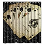 Personalized classic playing cards,poker pattern Waterproof mouldproof Bathroom 100% Polyester Shower Curtain 66(W)x72(H)inchs