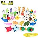 Bheddi パズル消しゴム(35個)、ミニかわいい動物の消しゴム 子供用 鉛筆消しゴムパック 賞品 プレゼント 学校用品