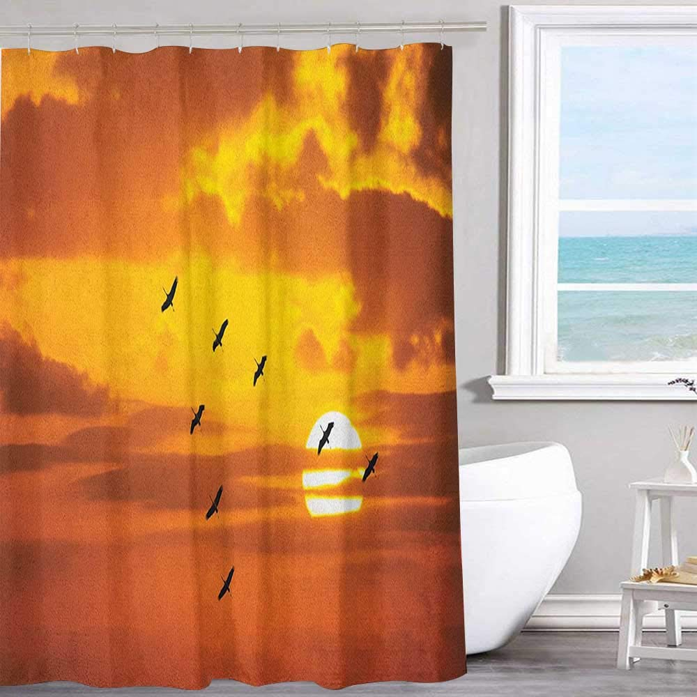 """MKOK Printed Shower Curtain 70""""x70""""inchBirds,V Shaped Formation Flying in Cloudy Scenic Sky with Majestic Sunset Cloudscape Print Orange Machine Washable - Shower Hooks are Included"""